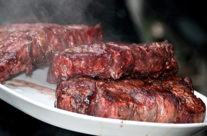 This cannot be missed - a perfectly grilled and slightly smoked ribeye steak