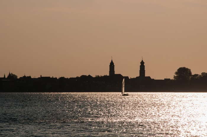 Lindau on lake Bodensee at sunset.