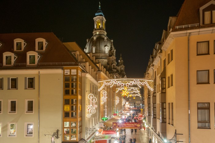 Dresden's historic downtown still in christmas mode.