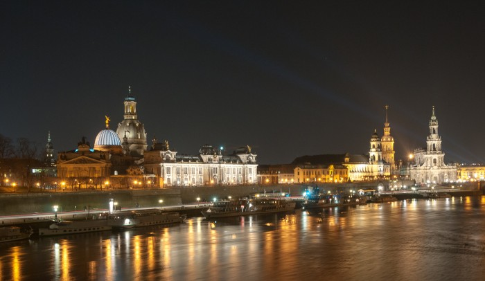 Panorama of the old city of Dresden at night.