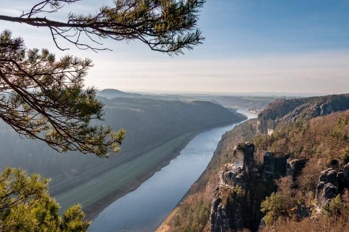 View from The Bastei downstream river Elbe.