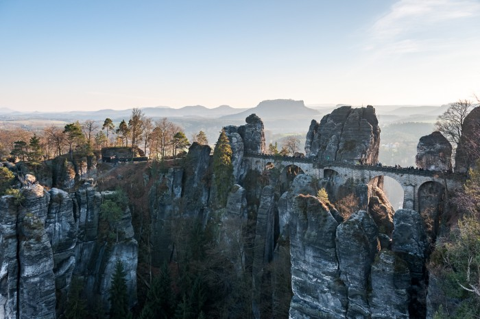 The Bastei (right) and the ancient castle on top of the rocks (left)