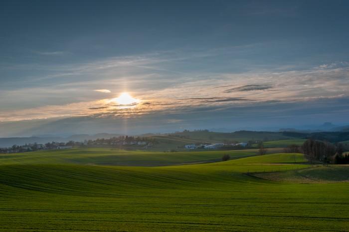 Hills of Saxony Switzerland at sunset.