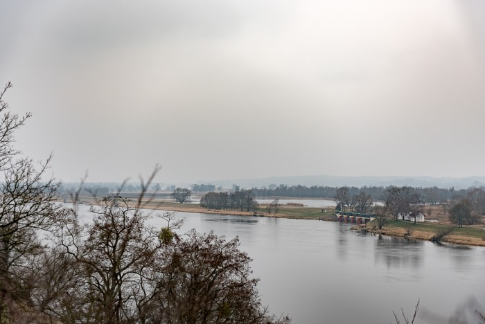 View to the river and the German floodlands from hilltop.