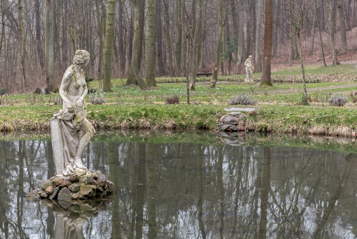 Artificial ponds with Adam's and Eve's sculptures. Eve is longing for her man in the other puddle.
